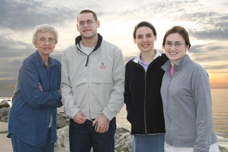 Granny, Jonathan, Hannah, and Sarah at Lake Erie