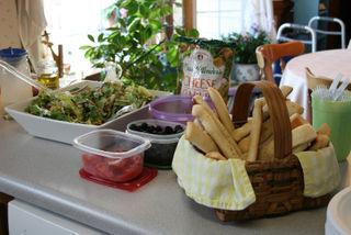 Salad and breadsticks