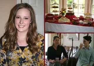 Allison, food table, Mrs. Jones and Hannah
