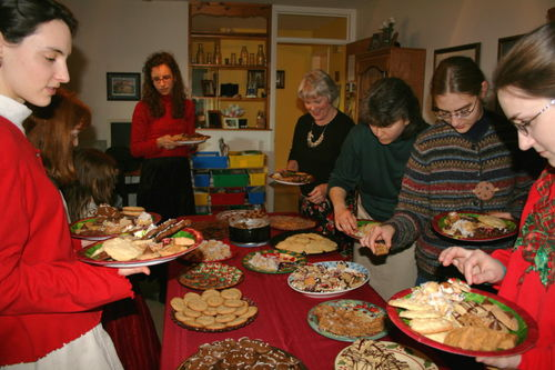 The cookie exchange table full of goodies