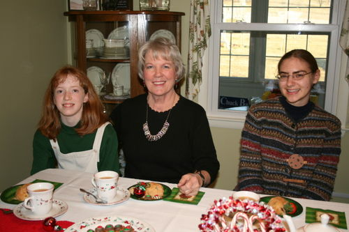 Anna, our hostess, Bettie, and Cadie enjoying the Tea