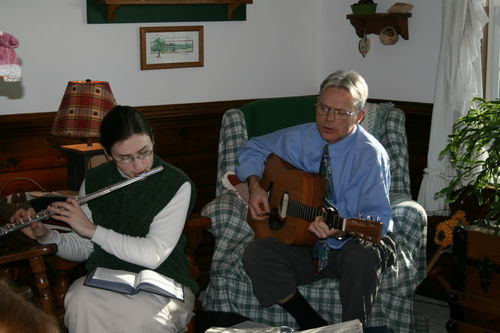 Sarah on flute and Tom on guitar