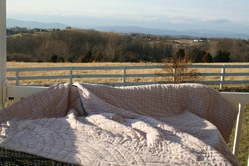 Quilt airing in the sun