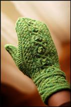 Green Mittens we'll knit today at Jared's knitting class