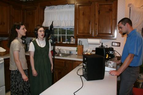 Hannah, Sarah, and Jonathan recording Come Thou Fount