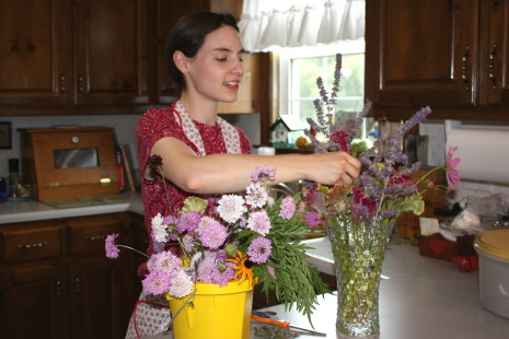 Hannah arranging her flowers