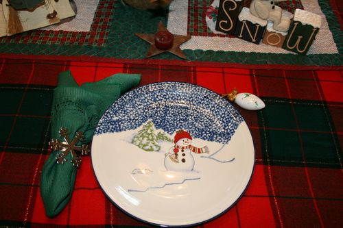 Snowman in the fields ~ Plate #12