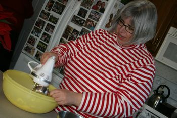 Betty's in the kitchen baking cookies!