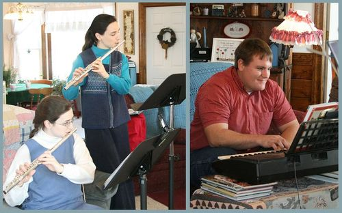 Hannah and Sarah on flute, Erich on the keyboard