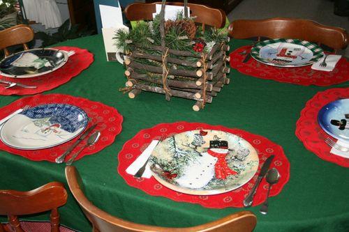 Snowman plates for Sarah's birthday meal