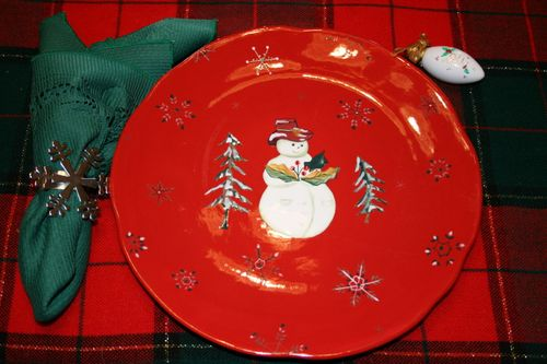 Snowman in his red hat ~ Plate #3