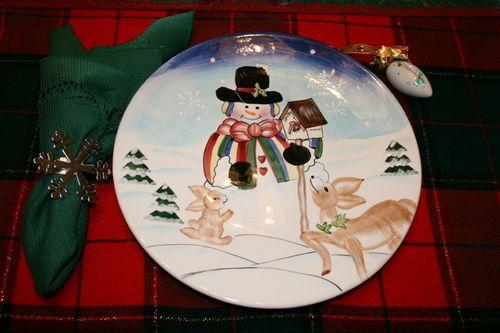 Woodland Snowman ~ Plate #11