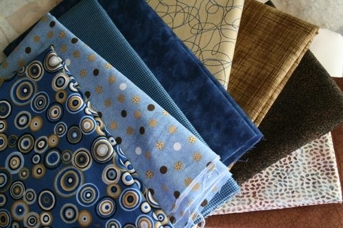 blues and browns I selected for Randi's Quilt-Along