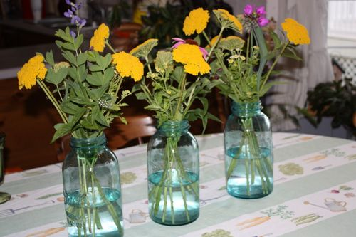 Three blue jars on our Sunday table