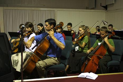 Orchestra skillfully playing