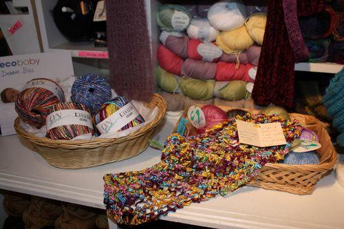 yarn and scarf at the yarn shop