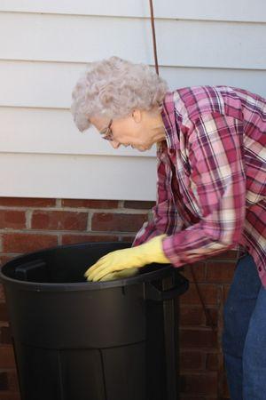 Granny soaking walnuts