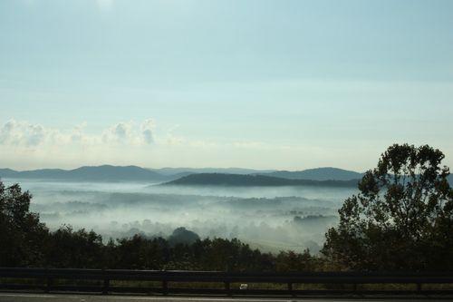 Sunday morning fog coming down Afton Mountain