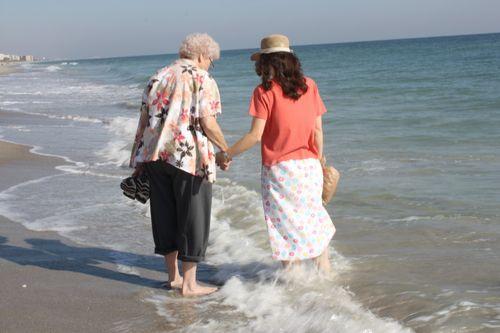 Granny & Hannah ~ walk the waves