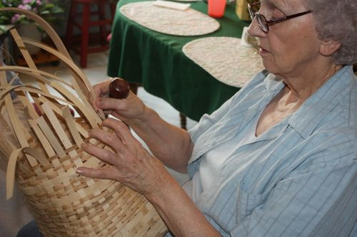 Granny weaves a Mustard Basket