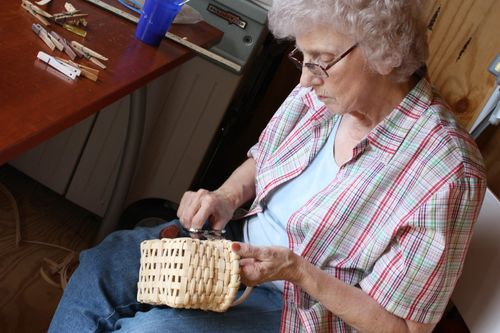 Granny making baskets in the shed ~ her new workshop!