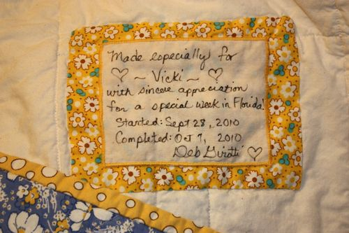 Label for Betty at the Beach quilt