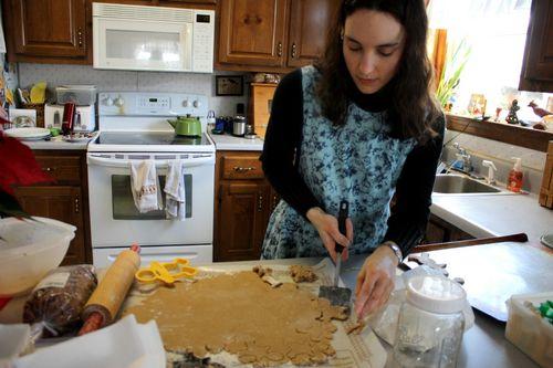 Hannah making gingerbread men