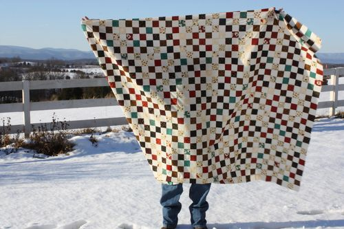 Postage Stamp Quilt top using Bird Song