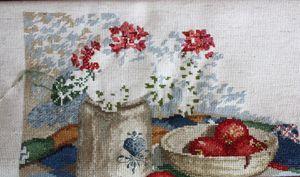 Crock and geraniums in progress
