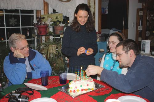 lighting of the candles for Sarah's b'day