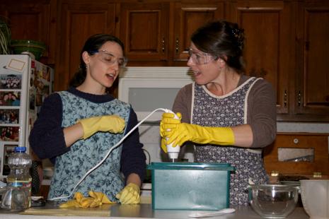 Stick-blending our soap mixture