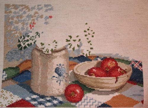 Old Crock & Geranium x-stitch