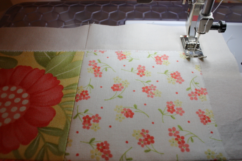 satin stitching around all the smaller blocks