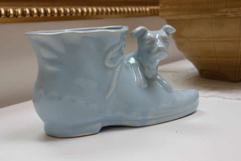 Vintage Boot and Dog Planter