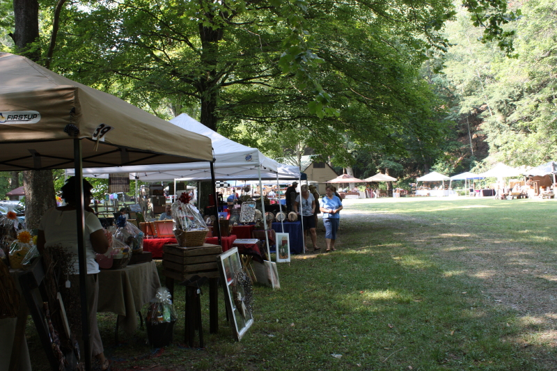 View of craft show tents