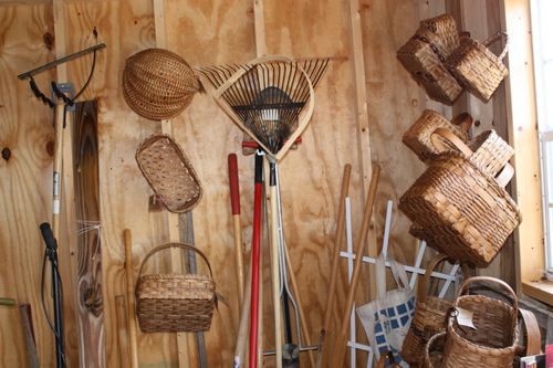 Baskets in the shed waiting for the craft show