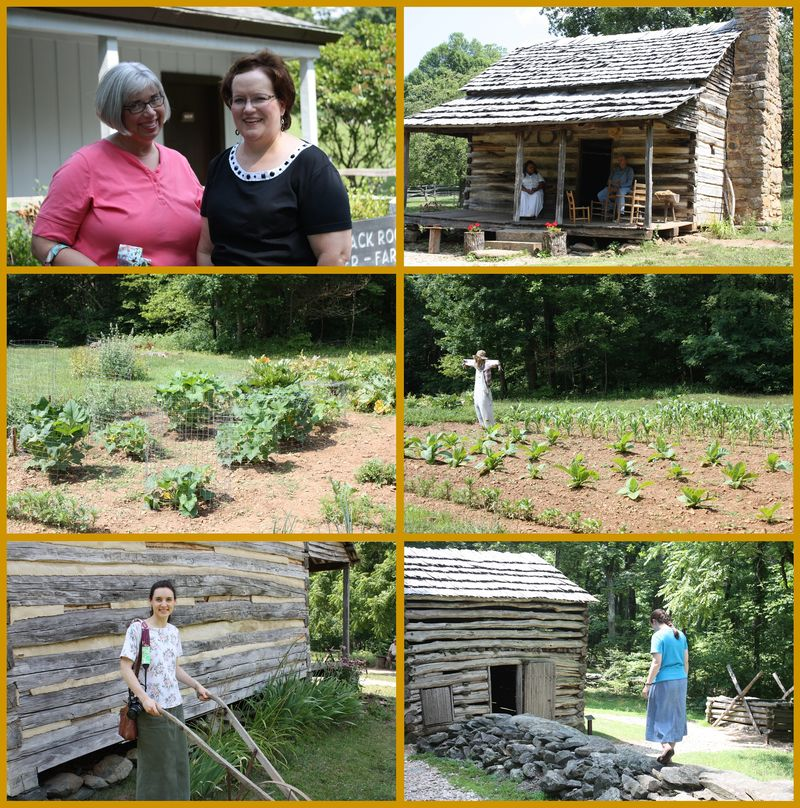 Clockwise top left: Bet & Sonia, Appalaachian Farm cabin, scarecrow guarding the corn and tobacco, Sarah walking the rock ledge, Hannah plowing outside the cabin, squash fenced in