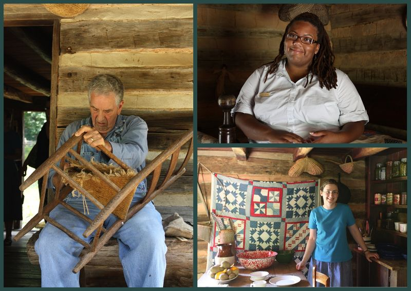 Man caning chair on porch of Appalachian Farm, lady interpreter, Sarah inside cabin in front of old quilt