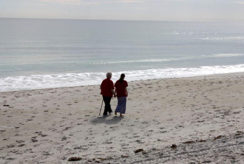 Granny & Hannah on Satellite Beach, Florida ~ October, 2010