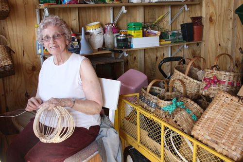 Granny making an egg basket