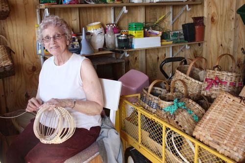 Granny making an egg basket