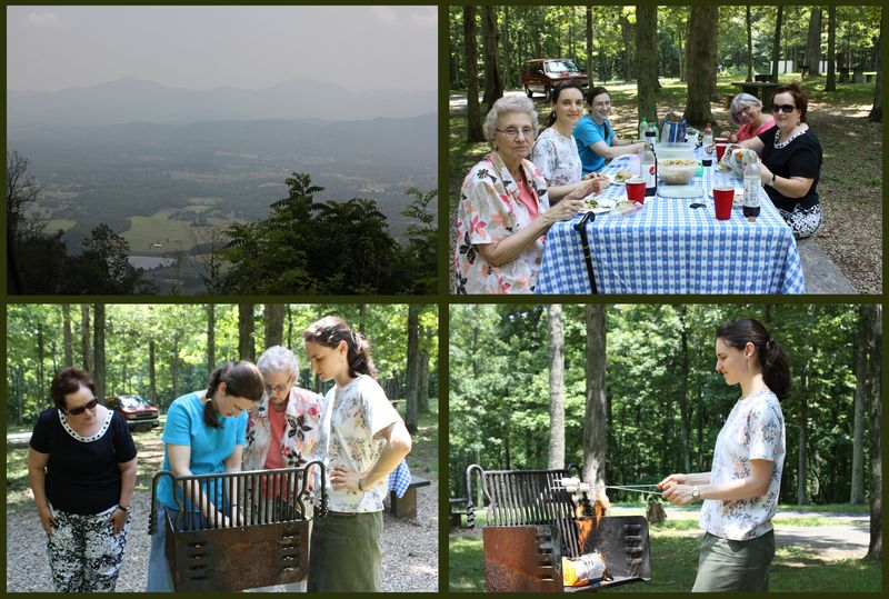 Clockwise from top left: Rockfish Valley (photo credit: Bet), picnic crew, Hannah roasting marshmallows, getting the fire going with lots of help!