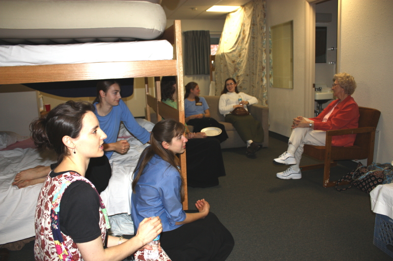Girottis visit Hynes in their room on campus