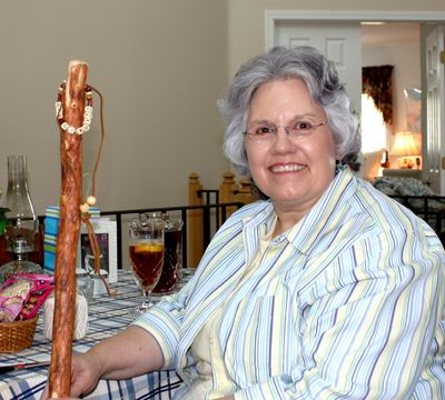 Deb with her new walking stick!