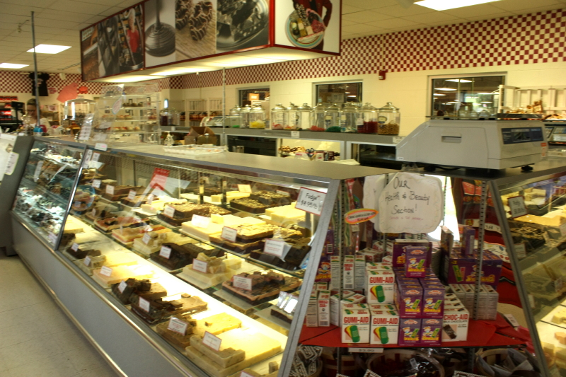 The fudge counter at Nancy's Candy Co.