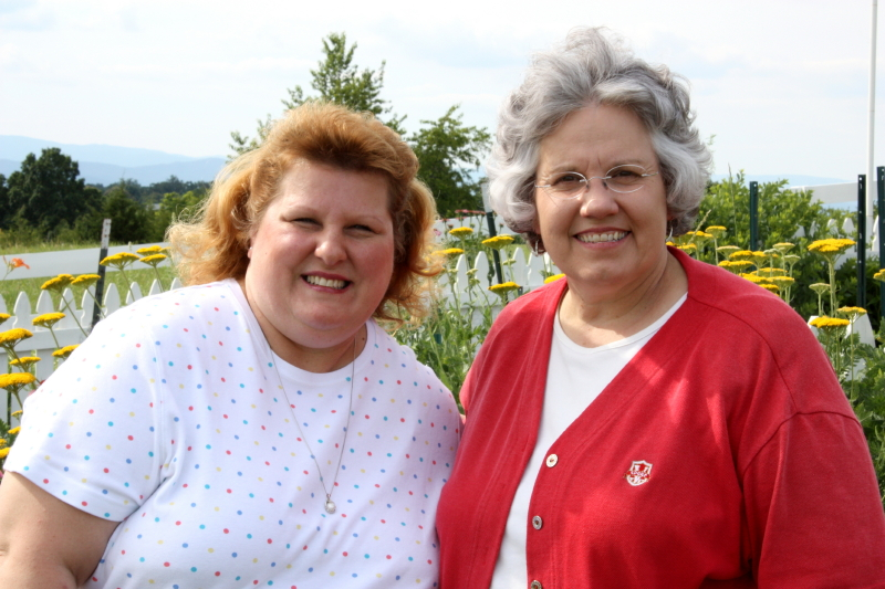 Vicky and Deb on a garden tour