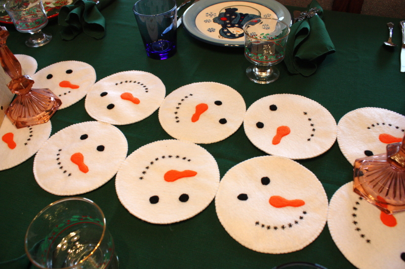 Snowman table runner by Sarah