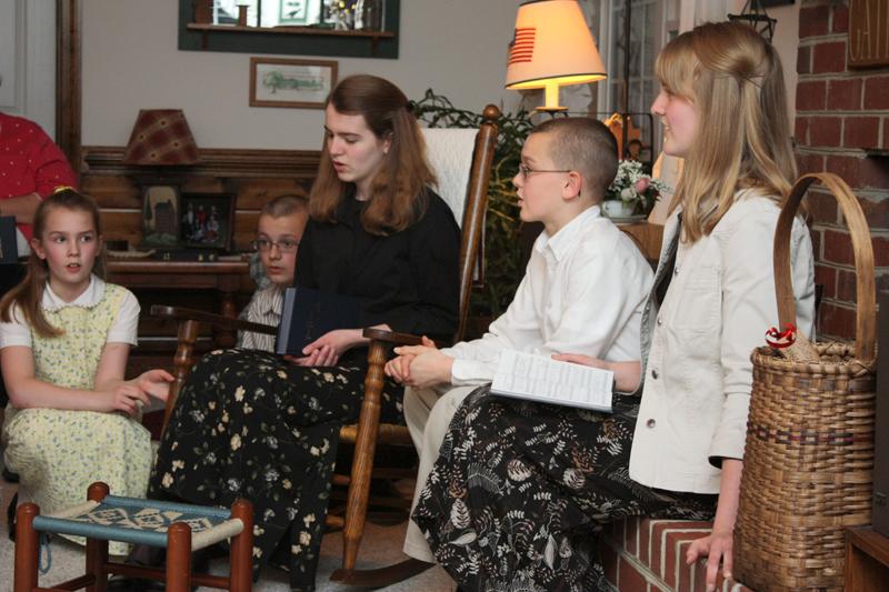 singing harmoniously as a family
