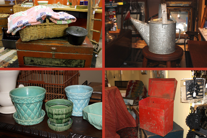 Clockwise from top left:  vintage quilt, watering can, mailbox, McCoy planters