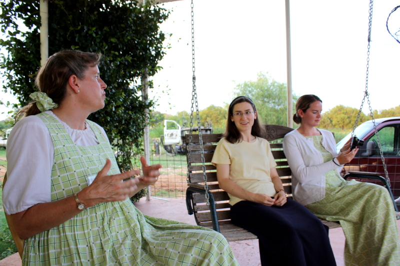 Mrs W, Sarah, and Beth as we all visit Erich's family